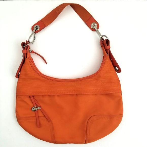 Lacoste Handbags - Lacoste Shoulder Orange Nylon Hobo Bag 3b7379efefdd6